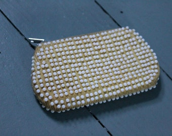 Loose Change... Vintage Yellow Beaded Change Purse, Hand Purse, Coins, Woman's Fashion