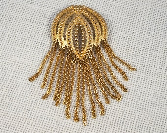 Monet Gold Tone Large Dangle Brooch Octopus Squid