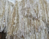 Lacy Shabby Cottage Chic Decor. Shabby Chic White Blanket with Gold in Fringe. Special Texture Country Decor Afghan Throw