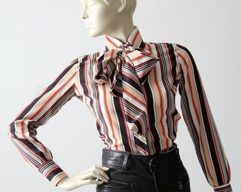 SALE 1970s Tucci blouse, striped secretary shirt