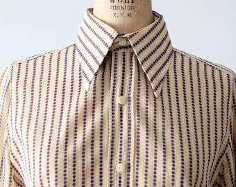 vintage Christian Dior blouse, polka dot striped button down shirt