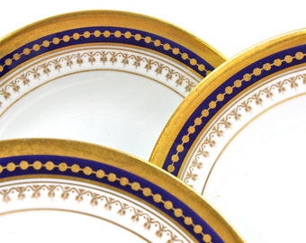 Antique Spode China Plates - SET of 4, England, Cobalt and Gold Gilt Plates, for Gilman Collamore, New York, c1890s