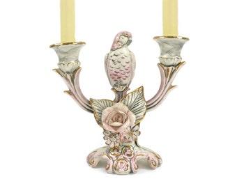 Vintage Parrot Candleholder - Bird Candleholder, Double Lite Candleholder, Vintage Bird Decor, c1950s