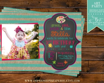Art Party - A Birthday Party Invitation - Paint Party - Artist Party - Painting - Chalkboard