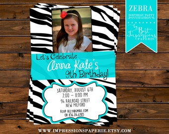 Zebra - A Customizable Photo Birthday Party Invitation - Zebra and Aqua