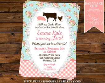 Barnyard Chic - A Shabby Chic Floral Barn Birthday Party Invitation for a Girl - 2nd Birthday - Pink and Aqua - Shabby Floral Barnyard