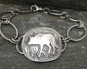 Reserved for K. Wolf Bracelet, Handmade Sterling Silver Link Bracelet, Textured Bracelet, Adjustable, 8 inches, Talisman, Wolf Medicine