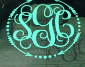 Arrow Monogram Decal - Car Decal - Circle Monogrammed - Window