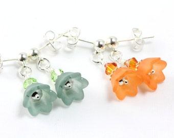 Little Girl Earrings, Flower Earrings, Matte Bell Flowers, Flower Girl Earrings, Swarovski Crystals