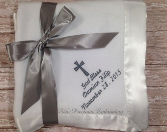Personalized Christening-Baptism Baby Fleece Blanket w/Satin Trim for Boy or Girl with Custom Monogramming