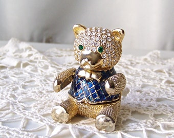 Vintage Teddy Bear Trinket Box Bejeweled Bear in Vest Jewelry Box Vanity Hinged Box 1990s