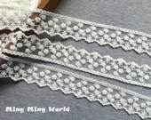 Cotton Lace -3 Yards Ivory Flowers Lace Trim(L360)