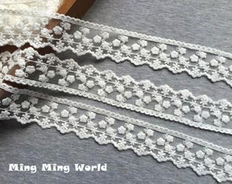 Cotton Lace -2.5 Yards Ivory Flowers Lace Trim(L360)