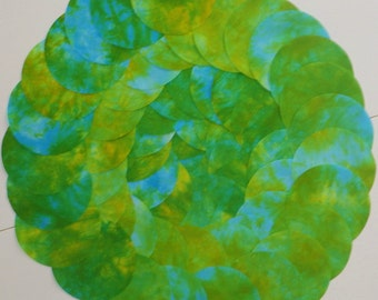 5 Inch Precut Fabric Circles, BLUESY GREENS, 62 Hand Dyed Die-Cut Circles, 100% Cotton, Pre-Shrunk, Colorfast