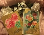 2 Antique Edwardian Postcard Postcards- Happy Birthday Pink Red Roses Gold