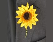 Yellow Sunflower Boutonniere Made to Order Yellow Wedding Flowers