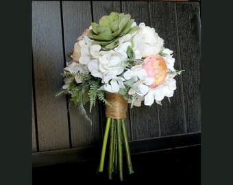 Succulent Bouquet, Blush Bridal Bouquet, MADE TO ORDER, Hydrangeas, Ferns Ranunculus,  Wedding Flowers