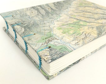 Italian Alps Map Journal, Recycled Map Notebook, Mountain Map Journal, Landscape Journal, Ski Journal, Hiking Notebook, Sketchbook