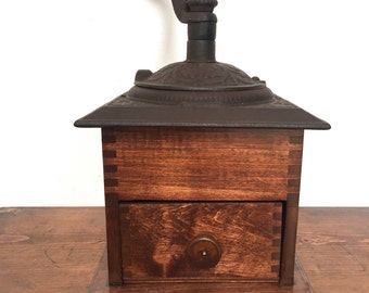 Vintage Ornate Coffee Grinder. Vintage Cast Iron-Dovetail Wooden Grinder.