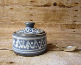 Vintage Lidded Sugar Bowl with Silver Spoon Scandinavian Table