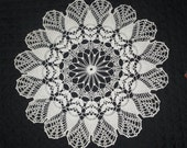 Vintage Handmade Crocheted Round  White Cotton Doily,    23 Inches. Lovely Center Piece.