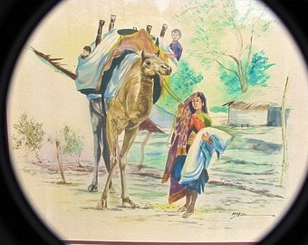 """Camel """"On the Road Again"""" Watercolor Silk Painting of Rural India, signed by Kapil,  the artist, Framed-33.5""""x30.5""""inches"""