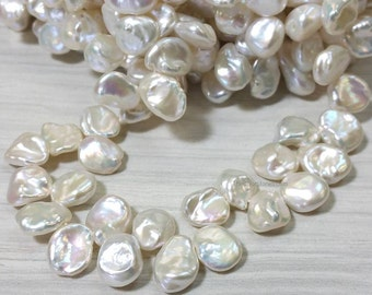 AA Grade 10 to 12 mm Freshwater Pearl White Keshi Cornflakes Beads - Bridal and Bridemades - Designer Editions (ET7013W85)