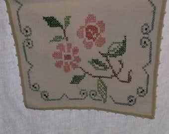 Vintage Table Runner, Dresser Scarf, Heavy Off White Cotton with Stitched Edge and Cross Stitch Embroidery