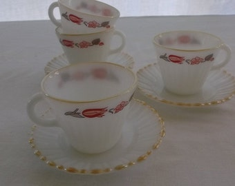 Vintage Milk Glass Cups and Saucers, Milk Glass, Termocrisa Tulip, Mexico, 4 Sets