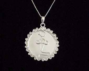 Yoga Pose Asana Necklace Pendants in Sterling Silver Select from Five Poses