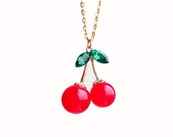 "Cherry Gold Necklace - You Pick Length 16""-36"""