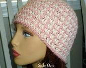 Custom Listing for gjh7jyc - crochet Beanie,Houndstooth Crochet Beanie, Houndstooth Reversible Hat - Adult - Rose and Ecru