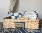 Stitching Tray, Storage Basket, Needlework Organization Basket
