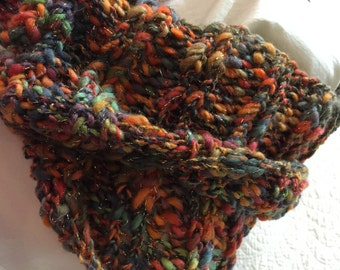 Chunky Knit Cowl Infinity Scarf Autumn Multi Color Quiltsy Handmade