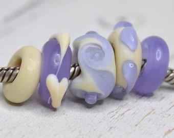 ivory and lavender crocus set (5 beads) ...big hole beads...dread beads....Euro style glass lampwork charm, SRA handmade P71116-12