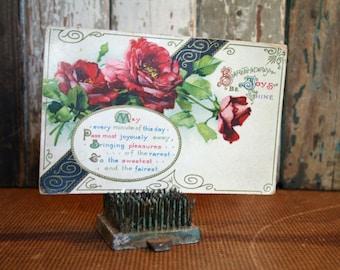 Vintage Birthday Postcard - Assemblage, Mixed Media, Altered Art
