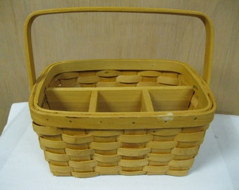 Antique Woven Wood Utensil Storage Basket for Patio Pool or Picnic Party Fun and Useful for Family Use Very Good Condition Perfect Storage