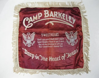 WWII Military Sweetheart Deep in the Heart of Texas Antique Pillow Top Collectible Was Gift to Military Sweetheart From WWII Army Soldier