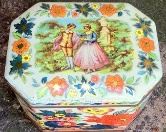 20% WINTER SALE Decorative Candy or Biscuit Tin /  Lovely vintage metal canister with lid,  decorated with floral bouquets and pastoral land