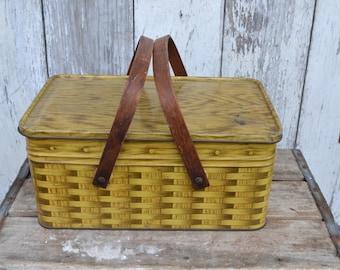 Vintage 1950s Metal Faux wicker Picnic Basket Tin Wood Handles Hinged Lunchbox Bread box