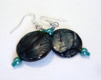 Dark Blue Shell Bead Earrings, Beach Jewelry, Surgical Steel Ear Hooks, Nickle-Free Earrings, Lightweight Earrings