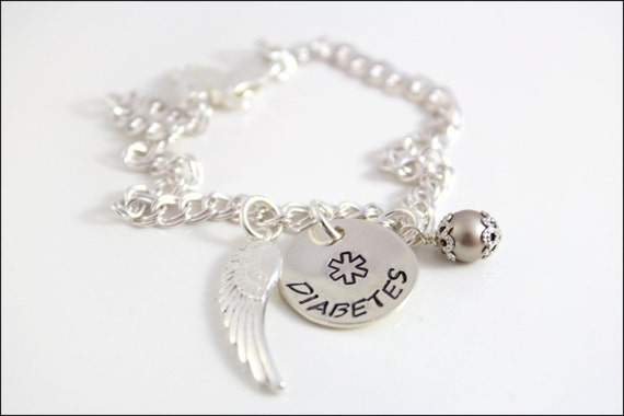 Diabetes Alert Bracelet with Angel Wing Charm and Pearl | Sterling Silver Medical Alert Bracelet | Fashionable Medical Jewelry