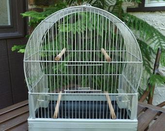 Hendryx Bird Cage Birdcage. Vintage 1940s 1950s. Metal, Perches, Feeders. Cottage, Garden, Farmhouse, Wedding Decor. Art Deco, Mid Century.
