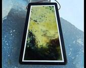 Serpentine With Black Stone Intarsia Pendant Bead,45x34x7mm,19.8g
