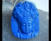 Carved Gemstone Lapis Lazuli  Pendant Bead,Carved Focal Pendant,45x35x10mm,24.79g