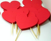 Red Heart Cupcake Toppers Valentines