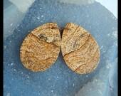SALE,Picture Jasper Earring Bead,36x25x3mm,10.93g