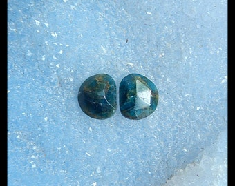 Blue Apatite Crystal Faceted Cabochon Pair,12x10x5mm,2.45g