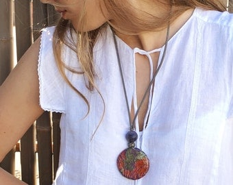 Red Artisan Paper Jewelry, Boho chic statement necklace