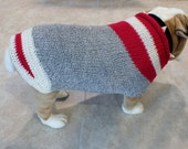 "Dog Sweater Hand Knit English Bulldog Sock Monkey  19"" inches long Merino Wool"